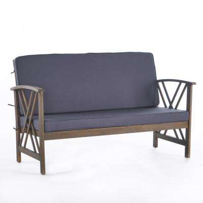 Caroline Grey Wood Outdoor Loveseat with Dark Grey Cushions