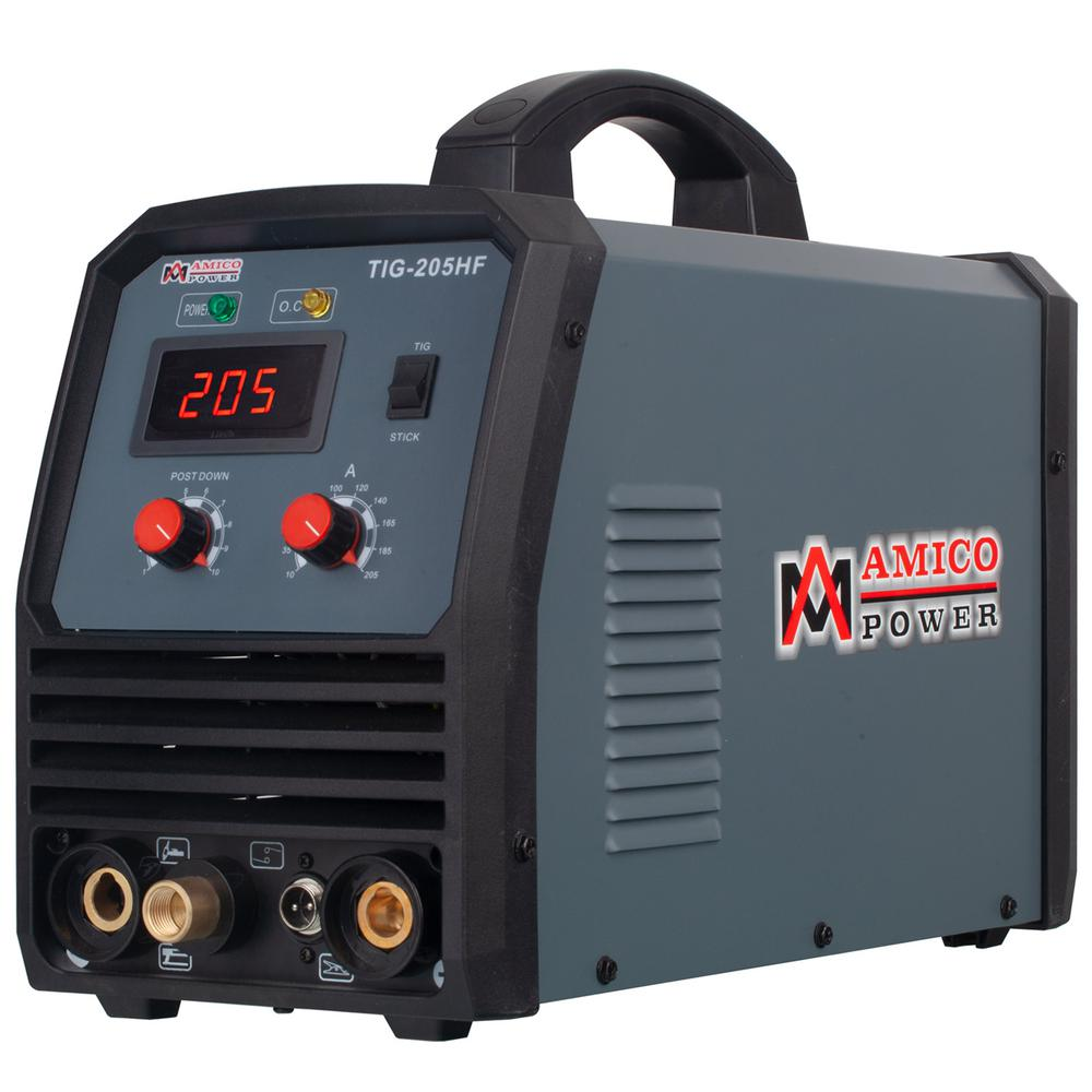 AMICO POWER 205 Amp. TIG Stick Arc DC Inverter Welder with 95-Volt to 260-Volt Wide Voltage Welding, 80% Duty Cycle