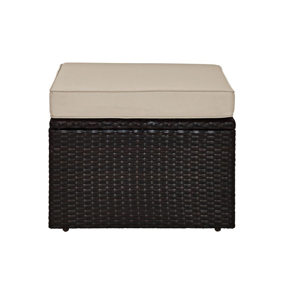 Crosley Palm Harbor Wicker Outdoor Patio Ottoman with Sand Cushions