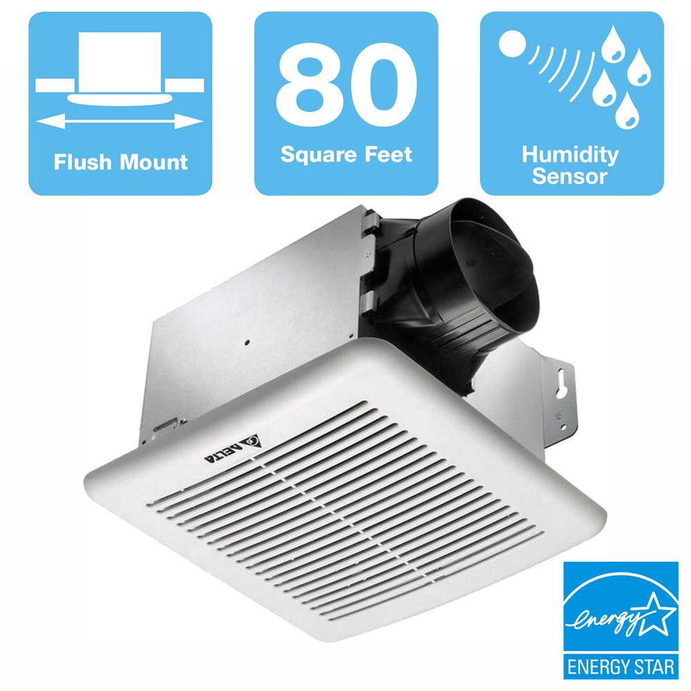 Delta Breez GreenBuilder G2 Series 80 CFM Wall or Ceiling Bathroom Exhaust Fan with Adjustable Humidity Sensor, ENERGY STAR