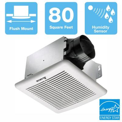 GreenBuilder G2 Series 80 CFM Wall or Ceiling Bathroom Exhaust Fan with Adjustable Humidity Sensor, ENERGY STAR