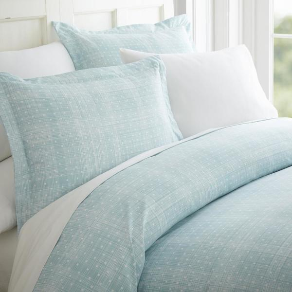 Becky Cameron Polka Dot Patterned Performance Aqua King 3-Piece Duvet Cover