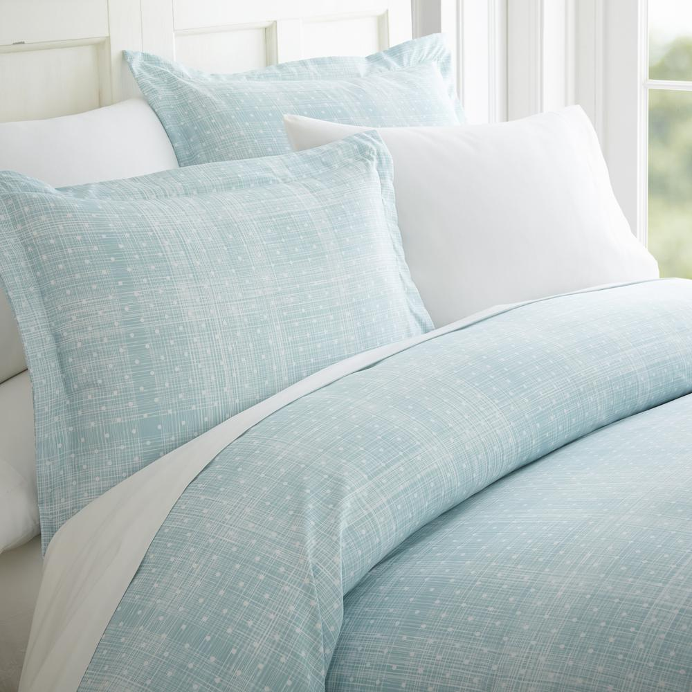 Polka Dot Patterned Performance Aqua Queen 3-Piece Duvet Cover Set