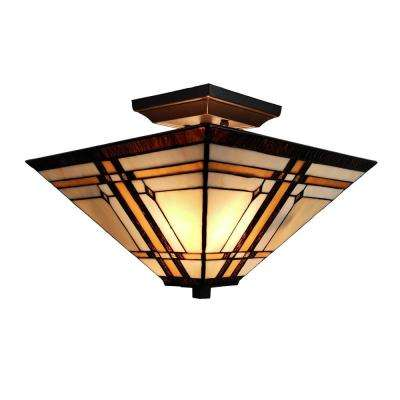 2-Light Tiffany Style Mission Pendant with Glass Shade