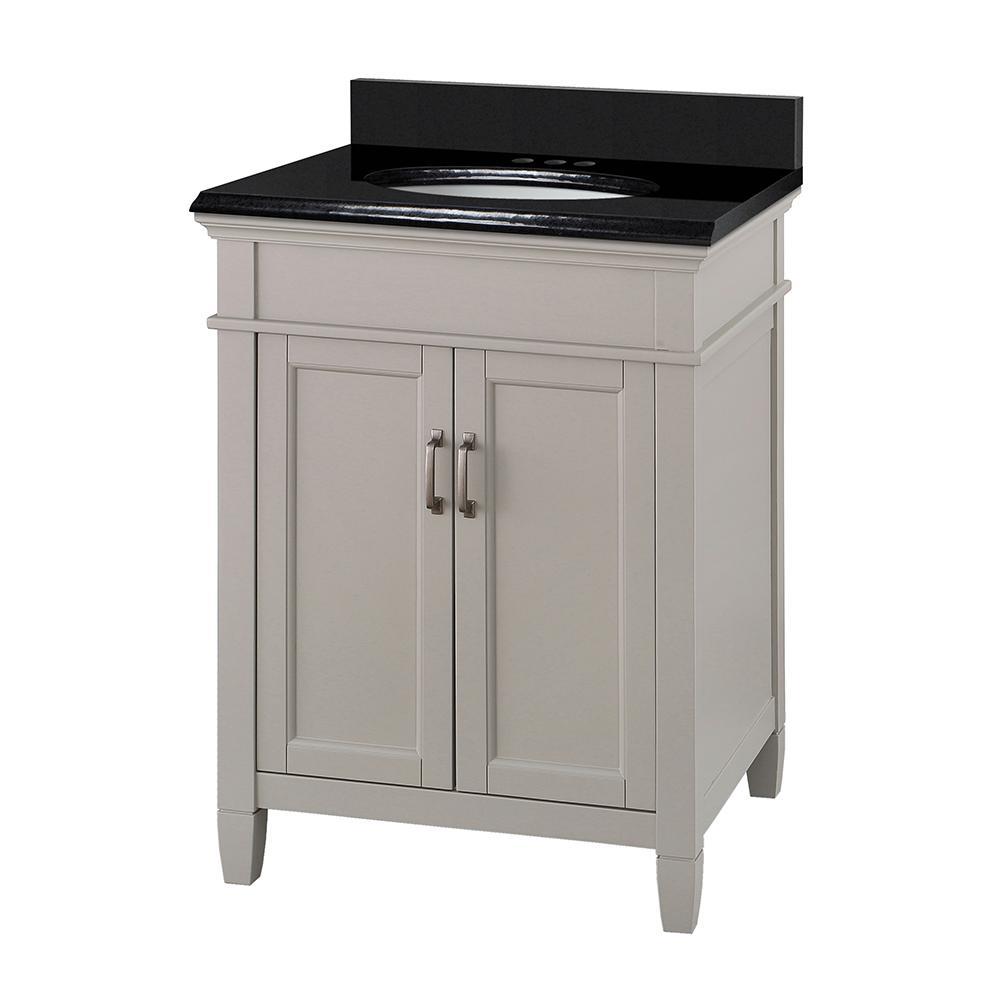 Ashburn 25 in. W x 22 in. D Bath Vanity in Grey with Granite Vanity Top in Midnight Black with Oval White Basin