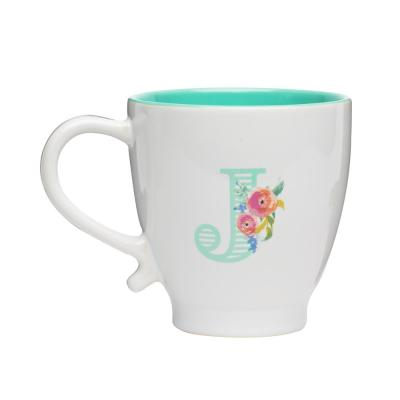 Monogram J 20 oz. White-Seafoam Ceramic Coffee Mug