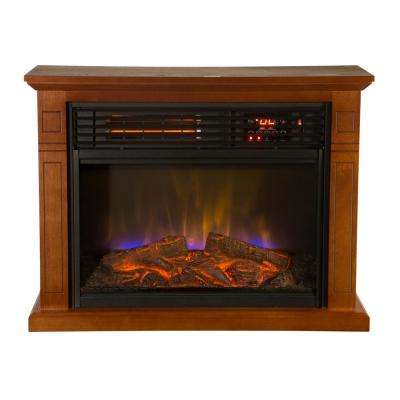 4600 BTU Mobile Quartz Electric Fireplace with Real Flame Technology