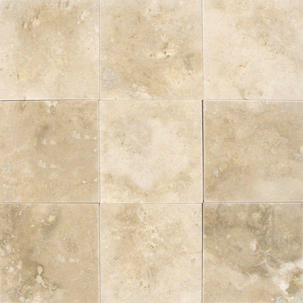 Msi Ivory 12 In X Honed Travertine Floor And Wall Tile 5 Sq Ft Case Thdivory1212hf The Home Depot