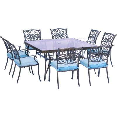 Seasons 9-Piece Aluminum Outdoor Dining Set with Square Table and Blue Cushions