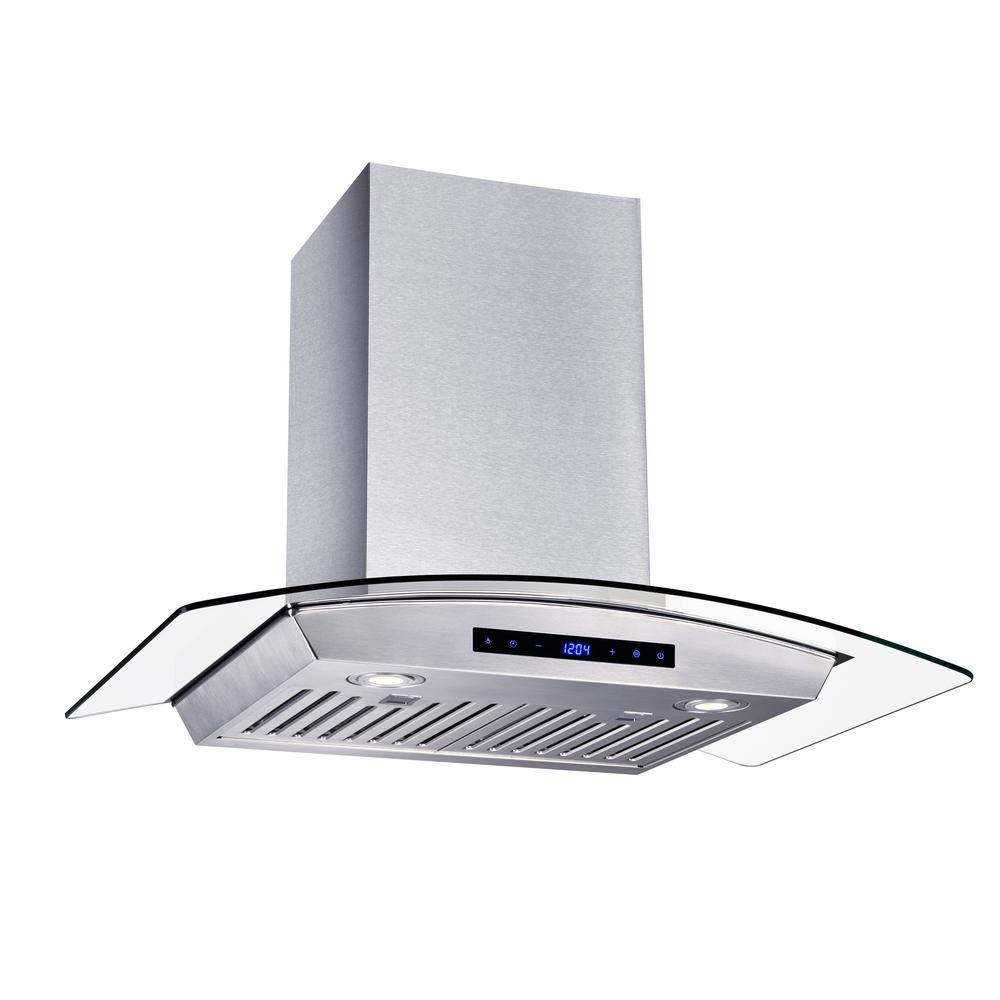 Vissani 30 in. W Convertible Glass Wall Mount Range Hood with 2 Charcoal  Filters in Stainless Steel