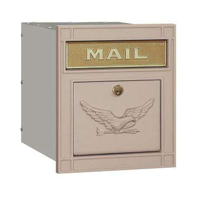 4100 Series 11.5 in. W x 13.25 in. H x 15.75 in. D Beige Locking Eagle Door Cast Aluminum Column Mailbox