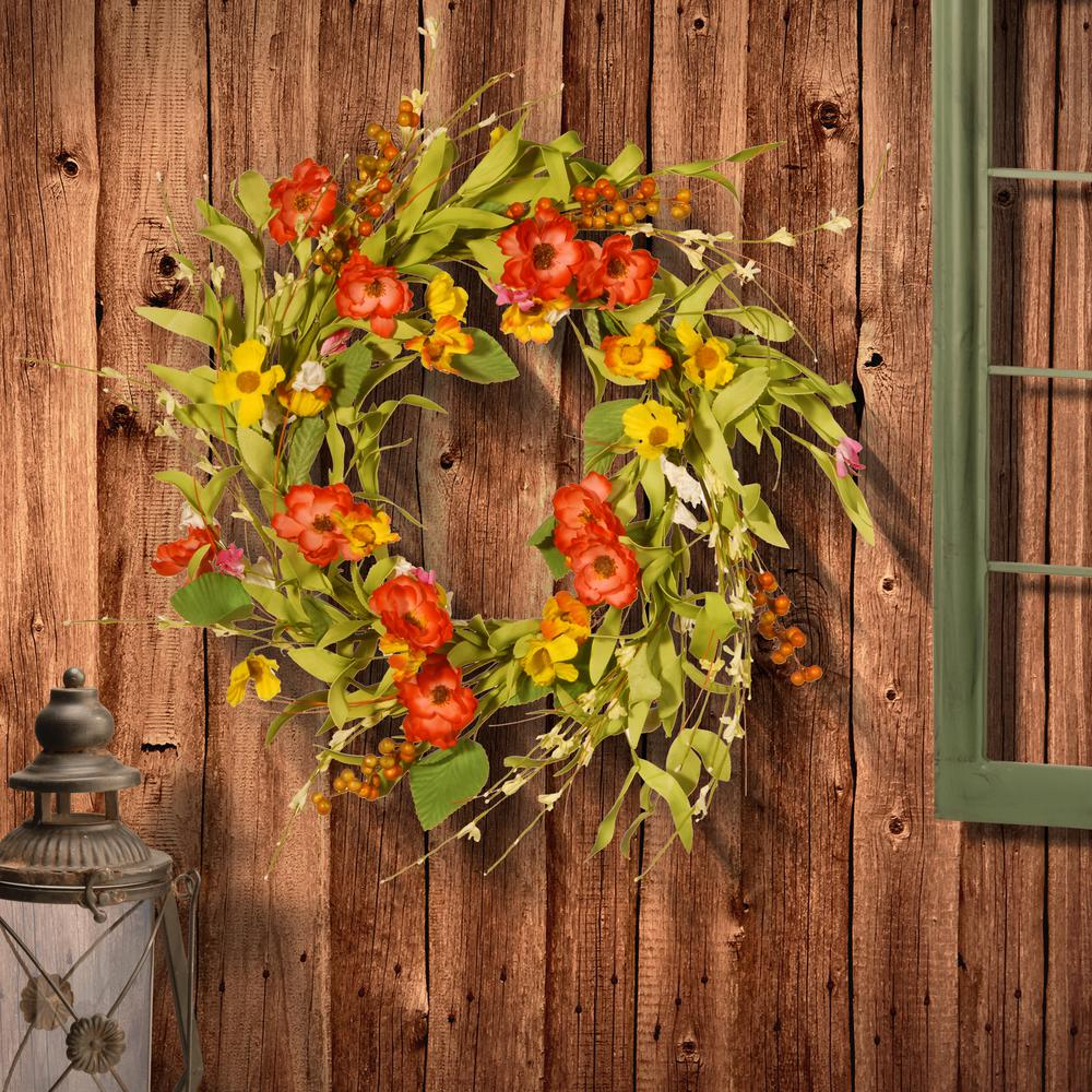 22 in. Spring Flower Wreath