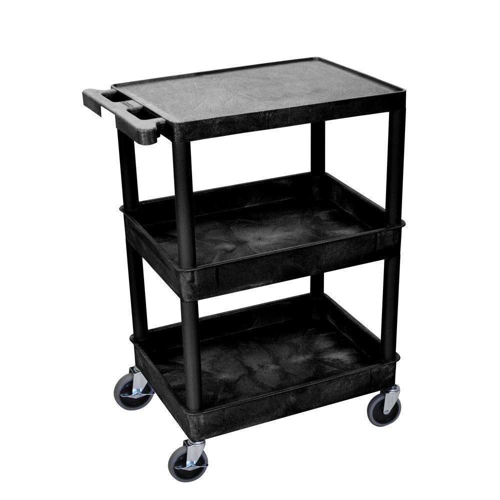 STC 24 in. 3-Shelf Utility Cart in Black