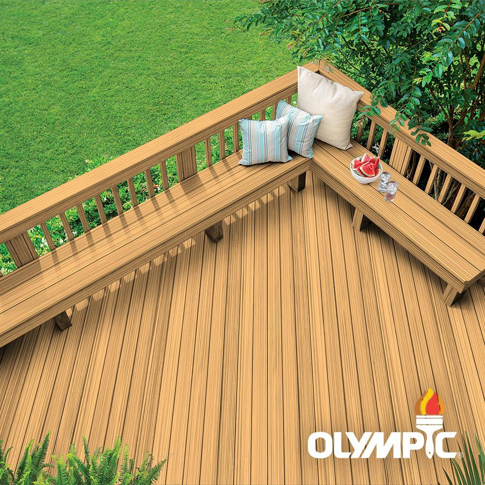 Olympic Elite 8-oz. Caramel EST931 Semi-Transparent Exterior Stain and Sealant in One Low VOC