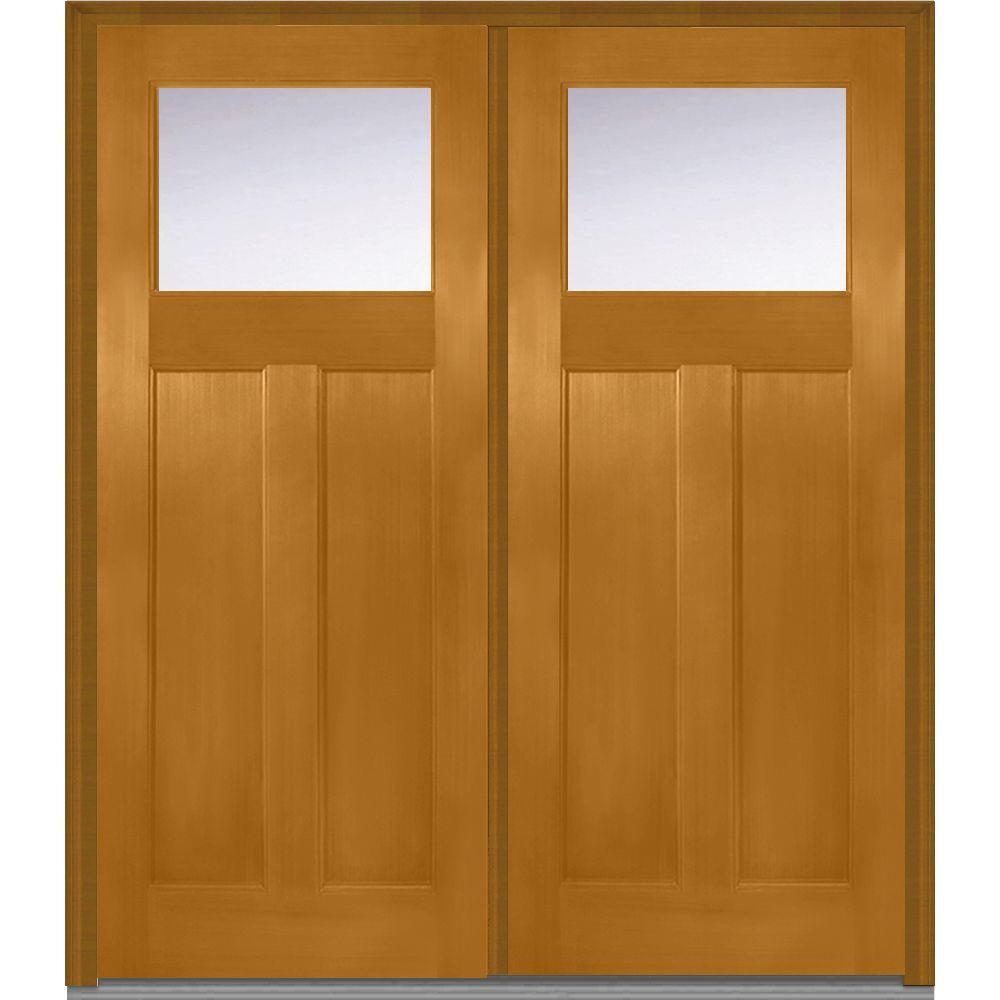 72 in. x 80 in. Clear Glass Right-Hand Craftsman 1/4 Lite