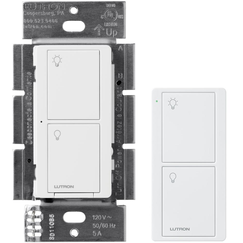 Lutron Caseta Wireless Smart Lighting On Off Switch And Remote Kit For All Bulb Types White