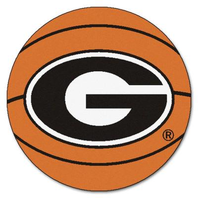 NCAA University of Georgia Orange 2 ft. Round Basketball Mat Area Rug