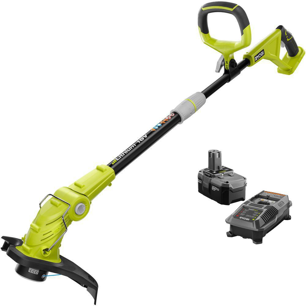 RYOBI ONE+ 18-Volt Lithium-Ion Cordless String Trimmer/Edger - 2 6 Ah  Battery and Charger Included