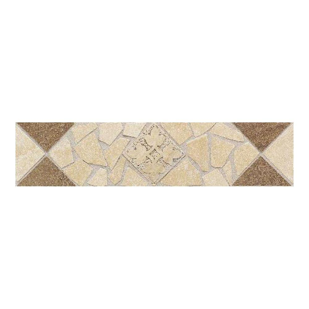Daltile Florenza Sabbia and Brun 3 in. x 12 in. Porcelain Decorative Floor and Wall Tile-DISCONTINUED