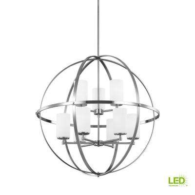 Alturas 9-Light Brushed Nickel Multi Tier Chandelier with LED Bulbs