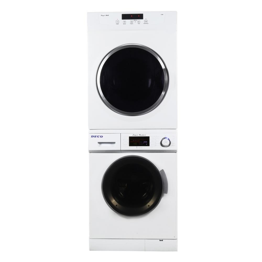 Deco White Laundry Center with 1.6 cu. ft. Washer and 3.5 cu. ft. Electric Standard Dryer Including Dryer Stack Rack