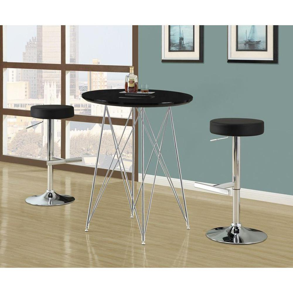Monarch Specialties Adjustable Height Chrome Swivel Cushioned Bar ...