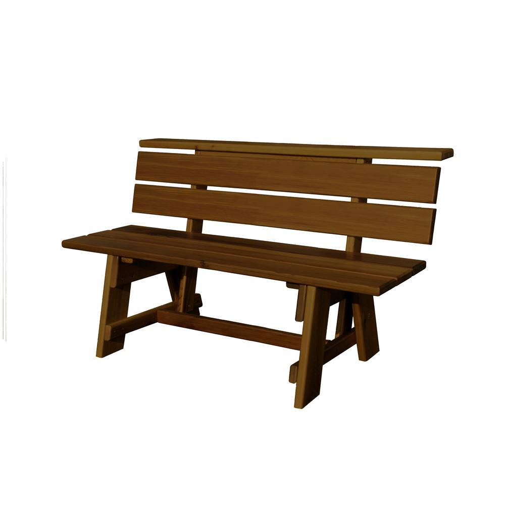 5 ft. White Oak Signature with Brown Finish Wood Outdoor Bench