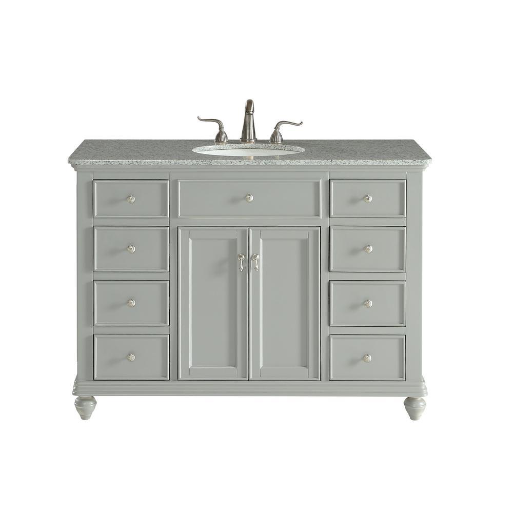 Somerton 48 in. Single Bath Vanity w/ 8 Drawers 1 Shelf 2 Doors; Granite Top; Light Grey