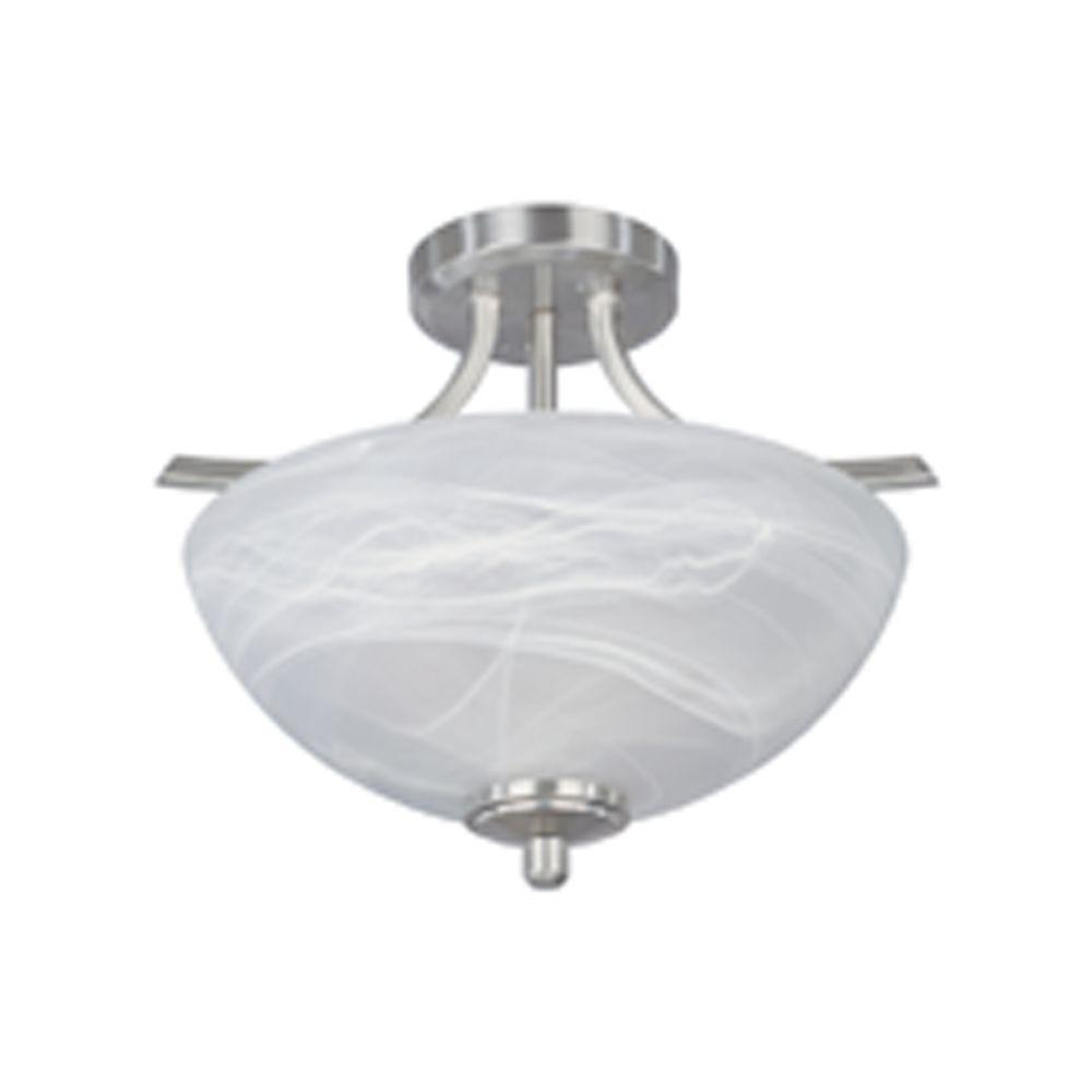 Manhattan 2-Light Satin Platinum Ceiling Semi-Flush Mount Light