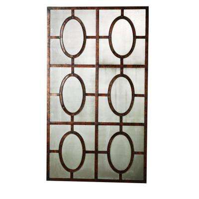52 in. x 30 in. Antique Copper Rust Framed Mirror
