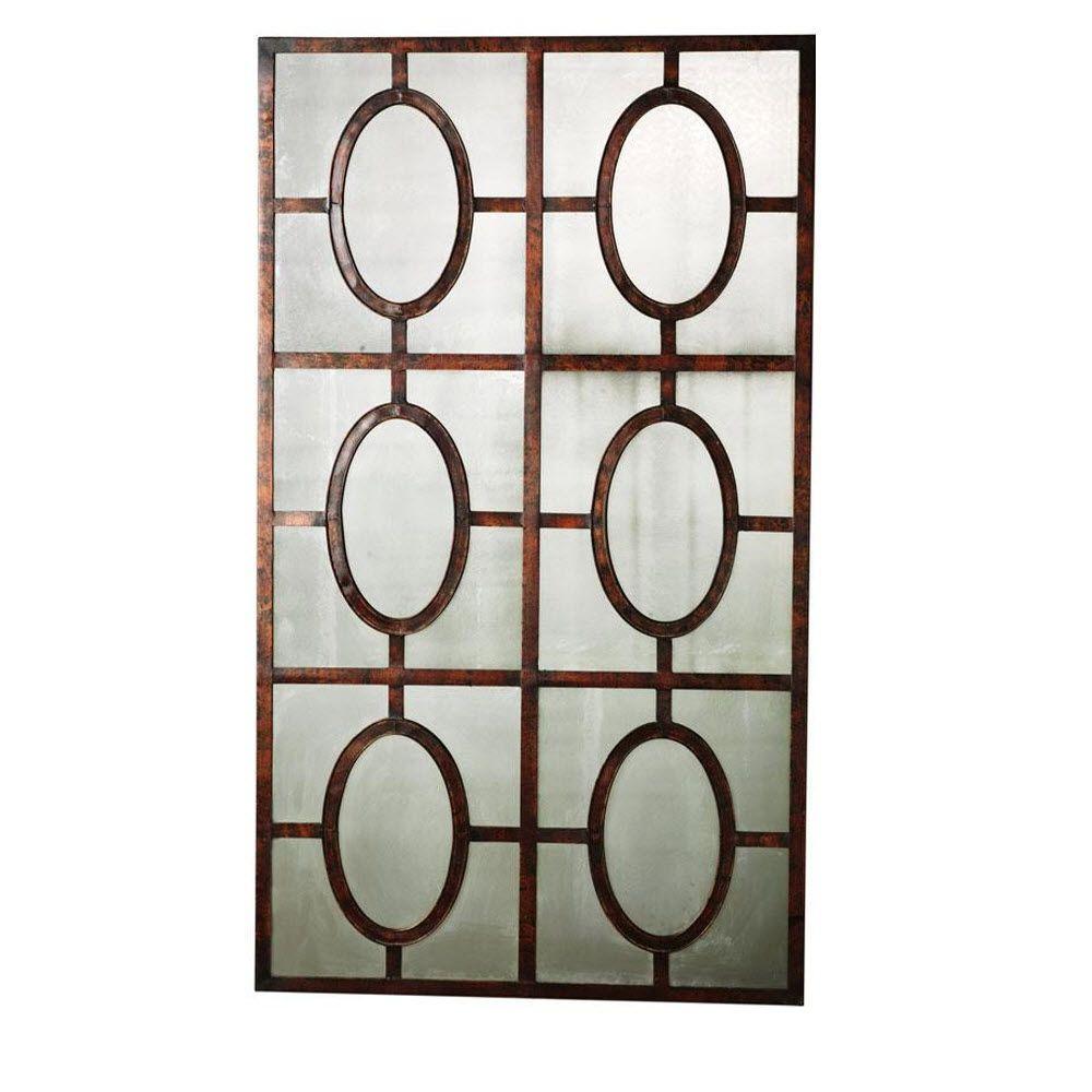 52 in. x 30 in. Antique Copper Rust Framed Mirror