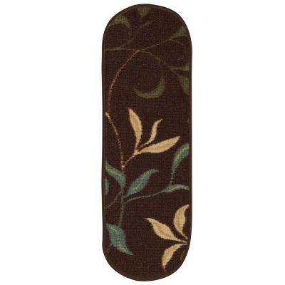 Ottohome Collection Contemporary Leaves Design Brown 9 in. x 26 in. Rubber Back Oval Stair Tread Cover (Set of 7)