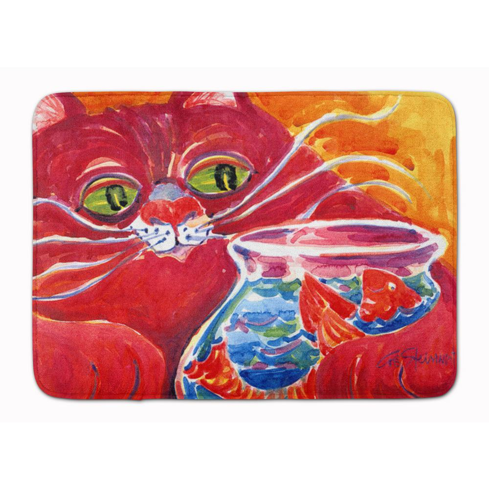 19 in. x 27 in. Big Red Cat at the Fishbowl
