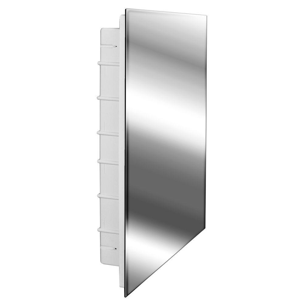 Media 16 in. x 26 in. x 3-1/2 in. Frameless Recessed 1-Door Medicine Cabinet with 6-Shelves and Polished Edge Mirror