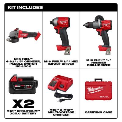 M18 FUEL 18-Volt Lithium-Ion Brushless Cordless Hammer Drill and Impact Driver Combo Kit (2-Tool) with Grinder