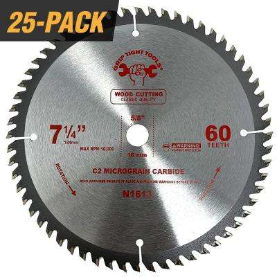 7-1/4 in. Classic 60-Tooth Tungsten Carbide Tipped Circular Saw Blade for Cutting Wood (25-Pack)