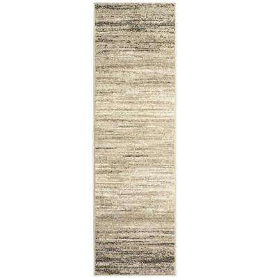 Matrix Light Beige/White Rectangle 2 ft. 1 in. x 7 ft. 5 in. Indoor Runner Rug