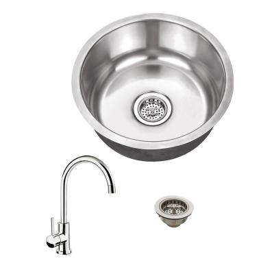 All-in-One Undermount Stainless Steel 17.125 in. Single Bowl Kitchen Sink with Polished Chrome Kitchen Faucet