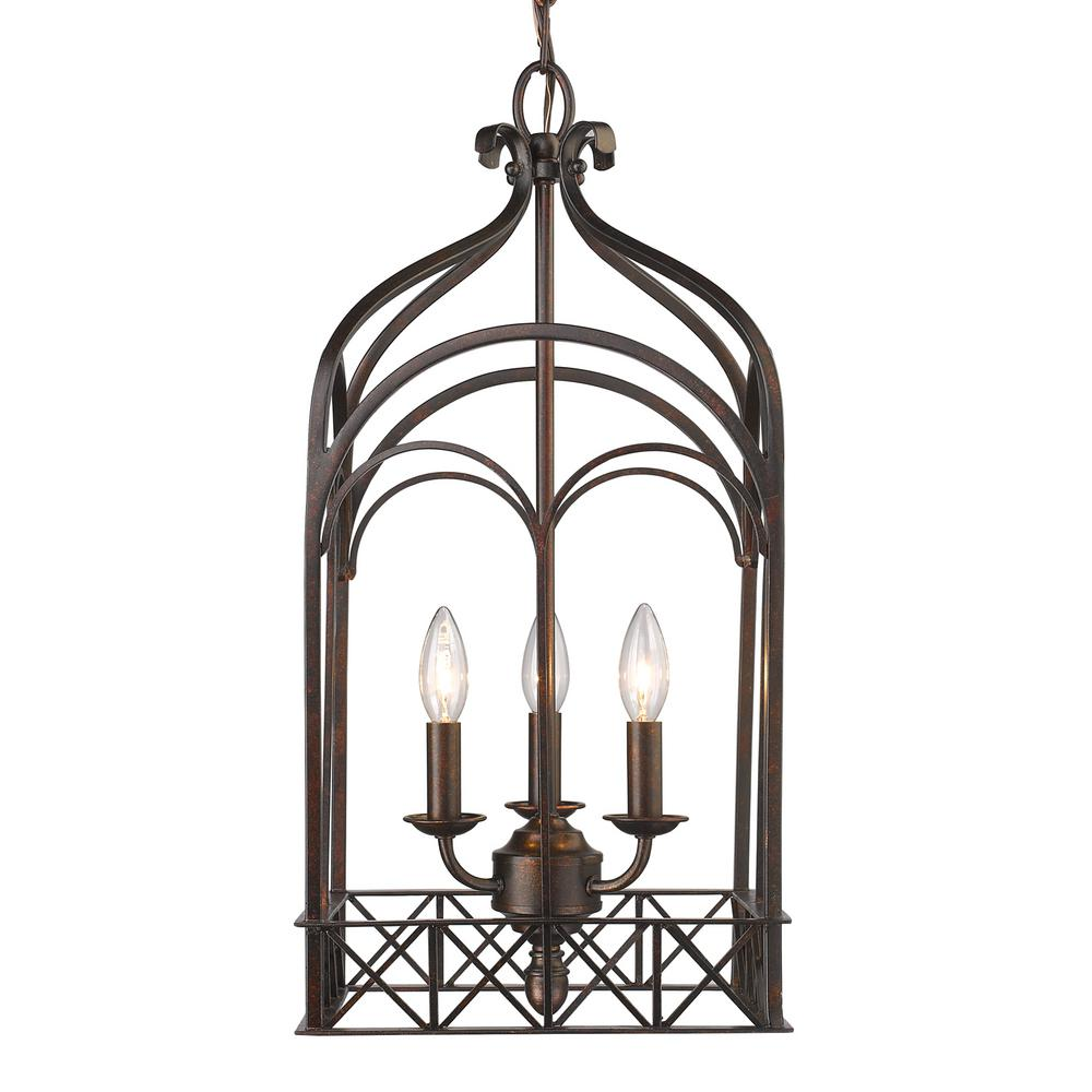 Golden Lighting Gateway 3-Light Fired Bronze Pendant