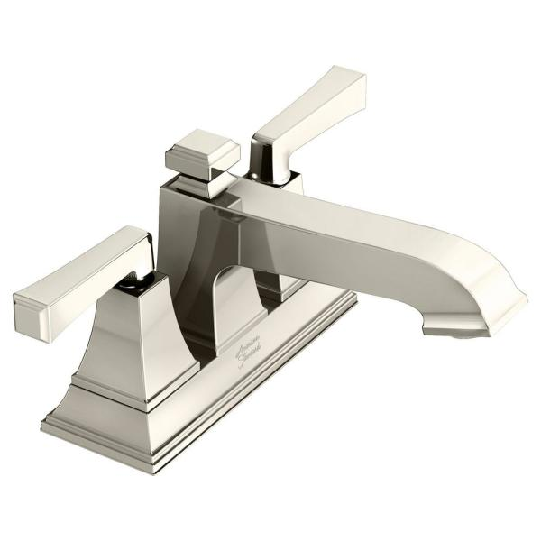 Town Square S 4 in. Centerset 2-Handle Bathroom Faucet with Drain Assembly and WaterSense 1.2 GPM in Polished Nickel