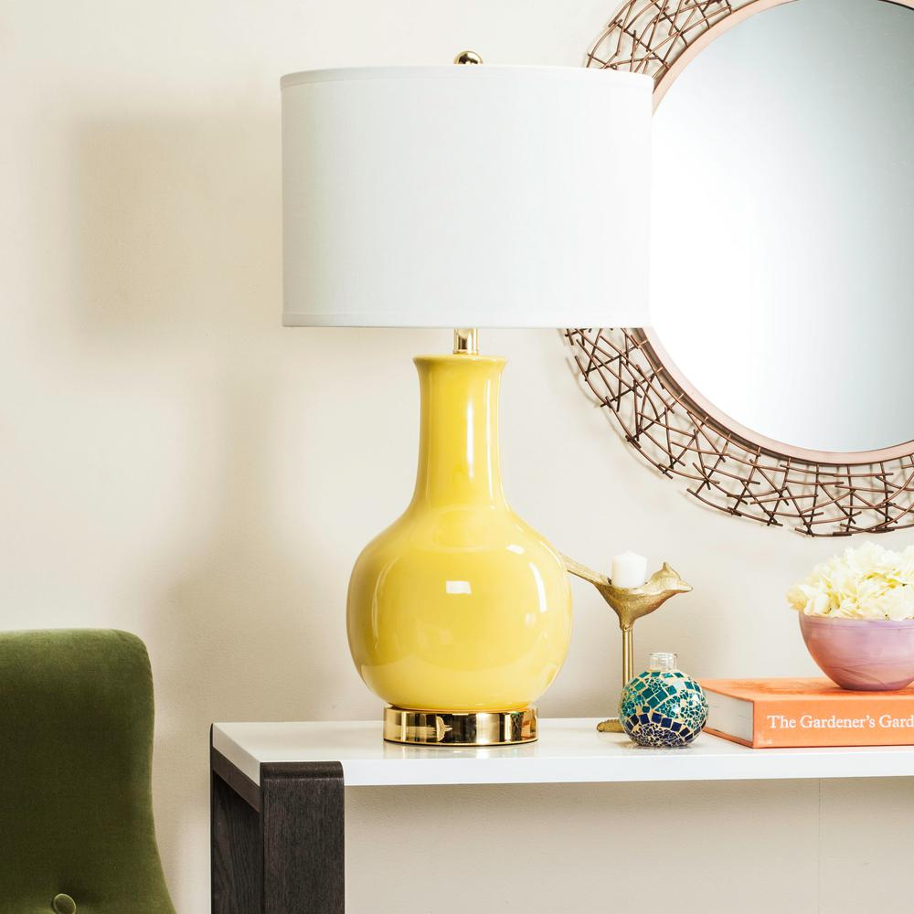Beau Yellow Ceramic Paris Lamp With White Shade