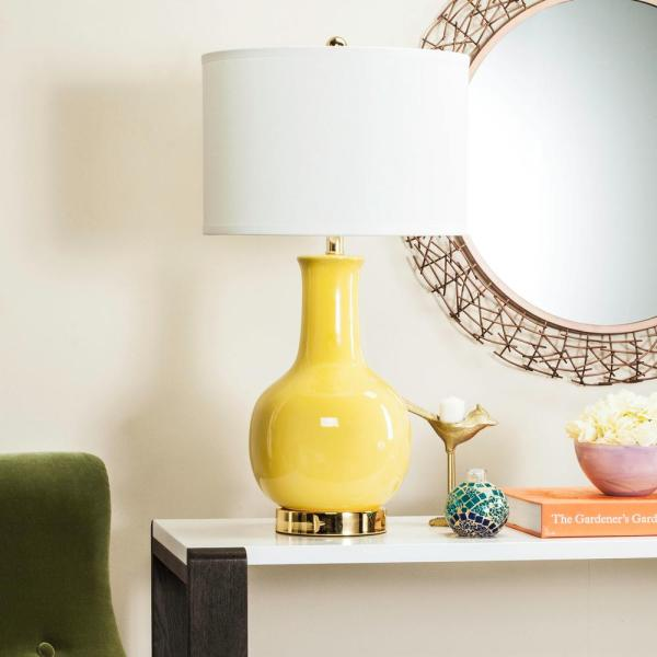 Paris 27.5 in. Yellow Gourd Ceramic Table Lamp with White Shade