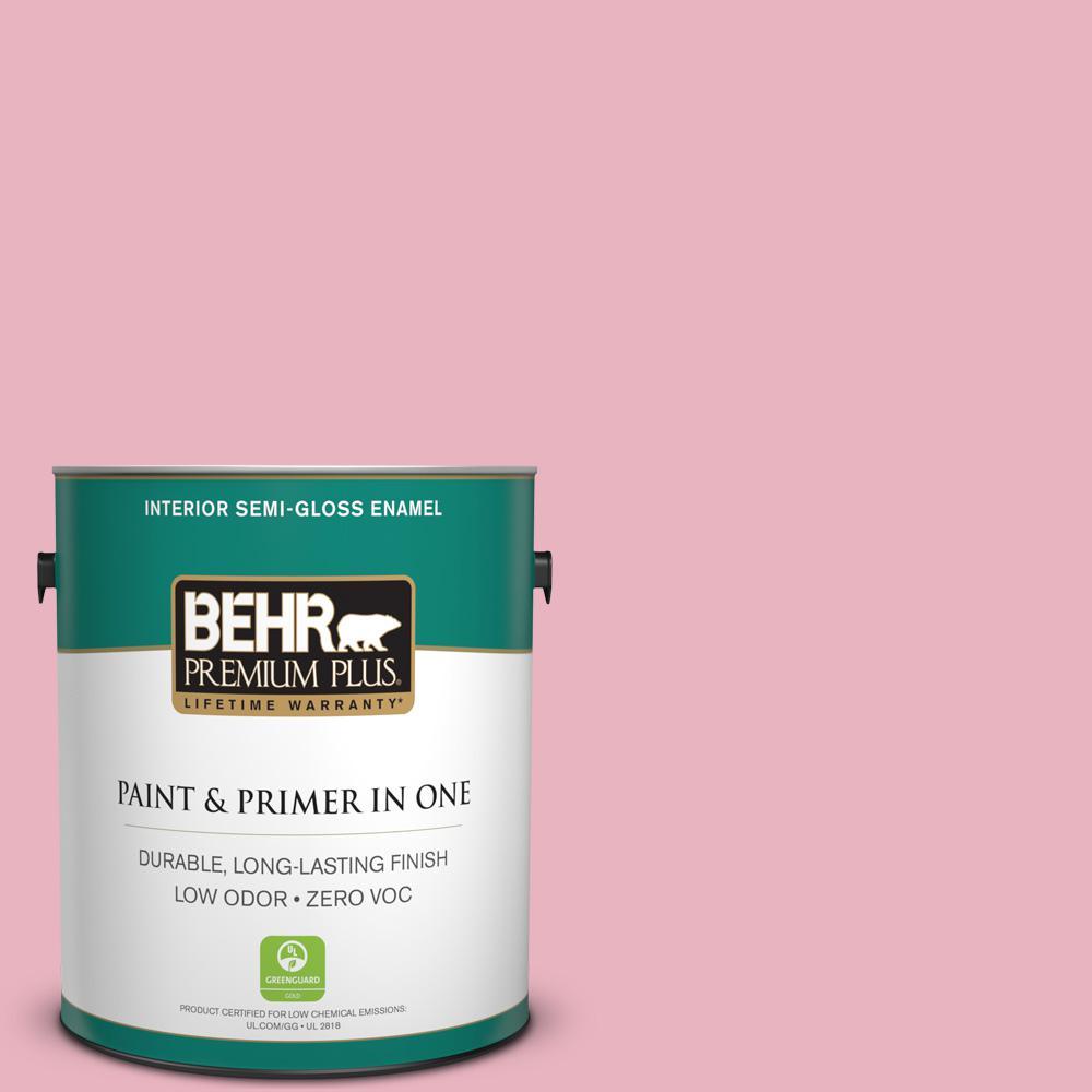 BEHR Premium Plus 1-gal. #M140-3 Premium Pink Semi-Gloss Enamel Interior Paint