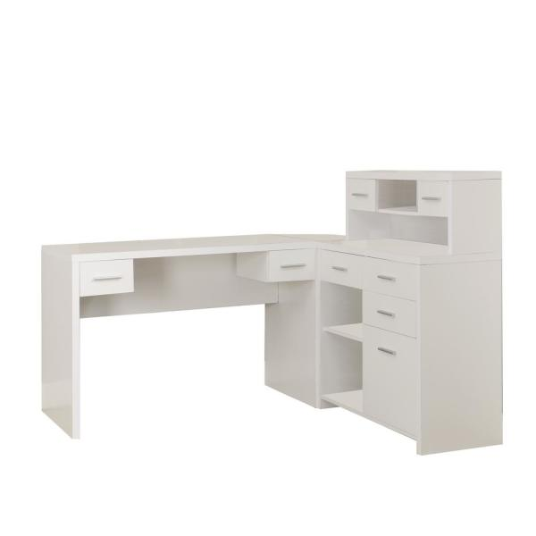 47 in. L-Shaped White 8 Drawer Computer Desk with Shelves