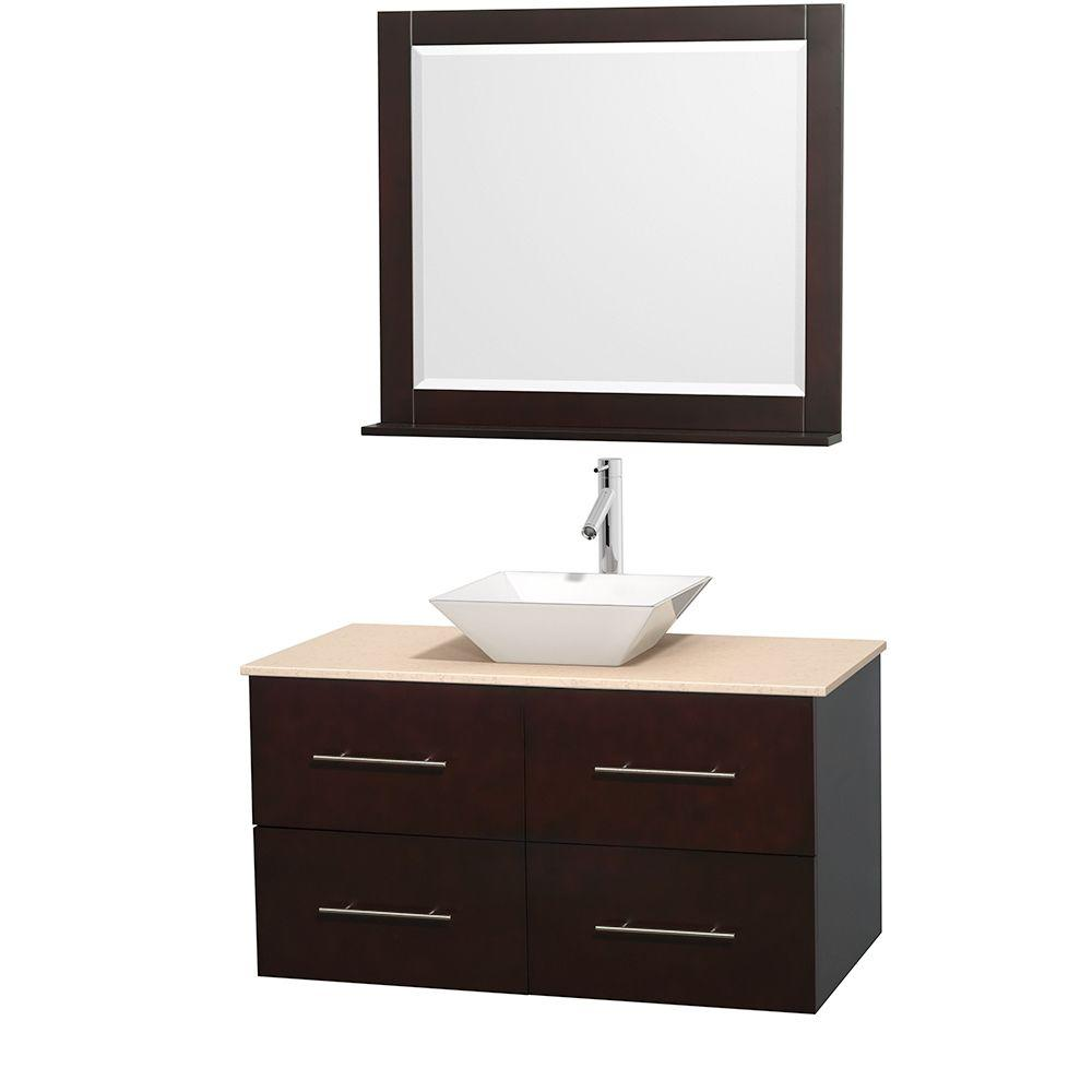 Wyndham Collection Centra 42 in. Vanity in Espresso with Marble Vanity Top in Ivory, Porcelain Sink and 36 in. Mirror