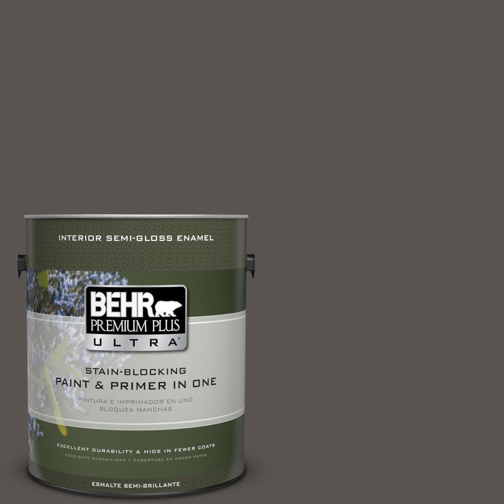 BEHR Premium Plus Ultra 1-gal. #BXC-23 Catskill Brown Semi-Gloss Enamel Interior Paint
