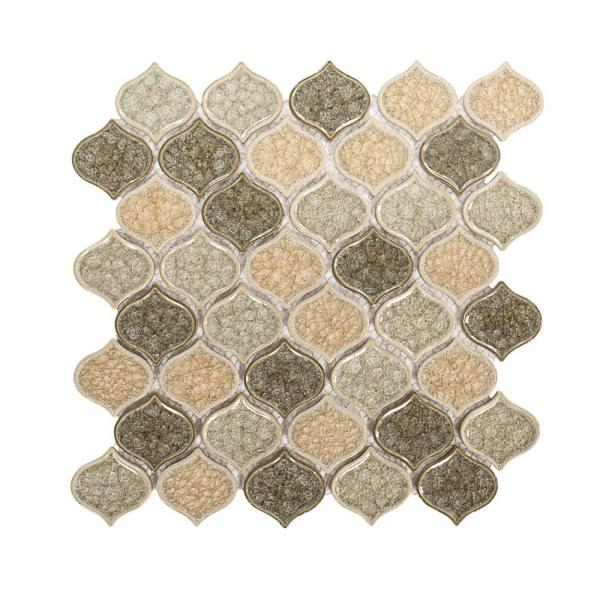 Crushed Sunset Beige/Cream 10.75 in. x 10.75 in. Arabesque Glossy Ceramic Mosaic Tile (0.802 sq. ft./Each)