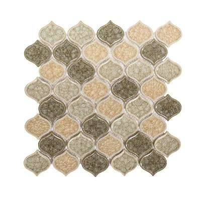 Crushed Sunset Arabesque 10-5/8 in. x 11-5/8 in. x 8 mm Glossy Ceramic Mosaic Tile