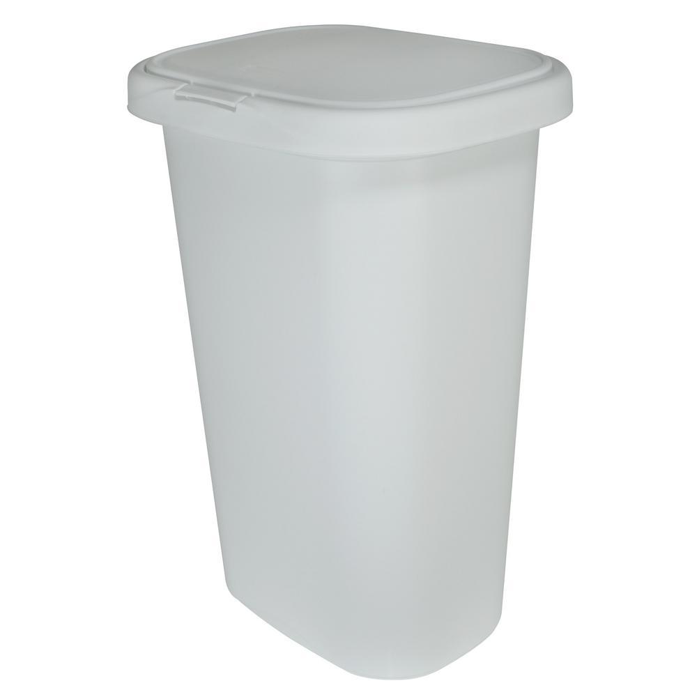13 Gal. White Spring-Top Wastebasket