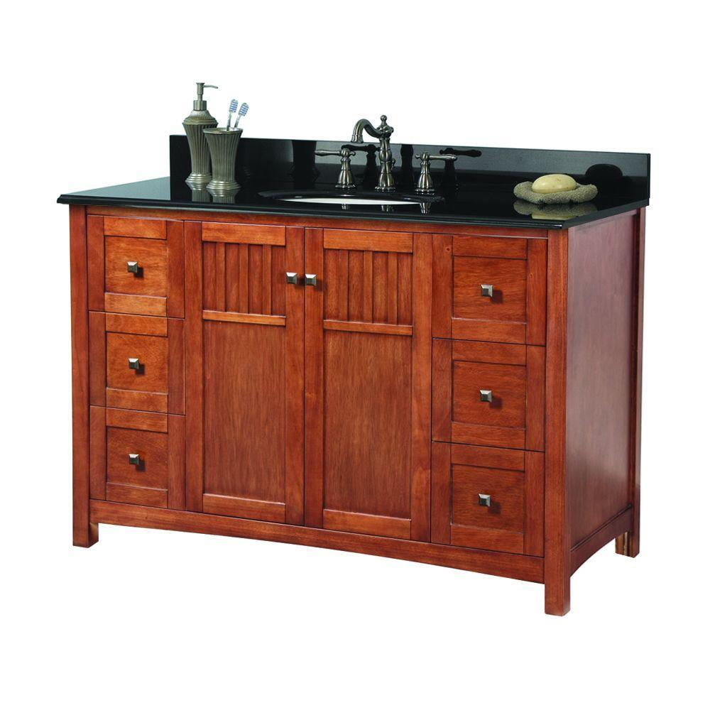 Knoxville 49 in. W x 22 in. D Bath Vanity in Nutmeg with Granite Vanity Top in Black